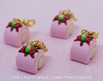 raspberry and mint cake roll charm - polymer clay - miniature food jewellery - swiss roll - dessert - cake roll - polymer clay charm