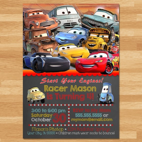 Disney Cars 3 Invitation - Chalkboard Invite - Disney Cars 3 Invite - Cars Birthday Party Printables - New Cars Movie Invite - Party Favors