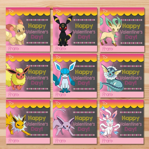 Eevee Evolutions Valentine's Day Cards - Pink Chalkboard - Girl Pokemon Eevee Valentines - Girl Pokemon Party - School Valentine's Day Cards