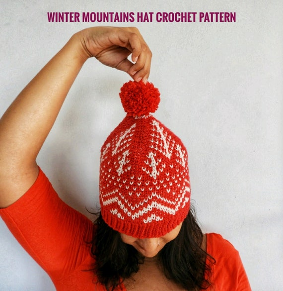 Winter Mountains Hat Crochet Pattern