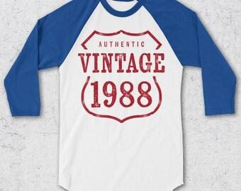 30th Birthday Gifts For Women & Men - Retro Baseball Tee - Authentic Vintage 1988 Shirts - 30th Birthday Shirts - Retro Raglan T-Shirt -