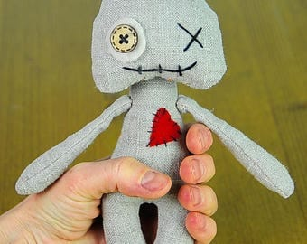 Wabi sabi doll Voodoo plush Primitive toy Rag doll monster Valentines day Art doll Pretty doll For her Red heart Voodoo art OOAK Prim