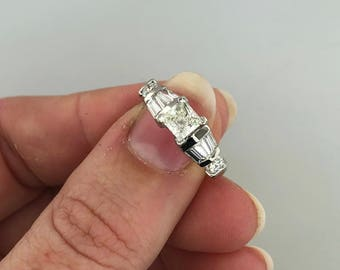 APPRAISED Platinum .65CT Princess Cut Solitaire Engagement Ring with Accents