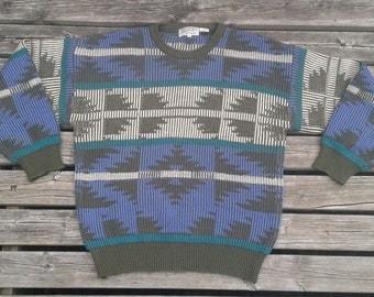 "Vintage 80's / 90's Pierre Cardin ""Generation II"" Knit Sweater Purple Brown Teal Green Large"