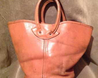 1950s Bucket Bag / Purse / Leather Ladies Top Handle Bucket Bag