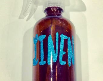 Large Sparkly LINEN Decal Only- Customizable Label- Glitter for Essential Oils- Young Living & DoTerra