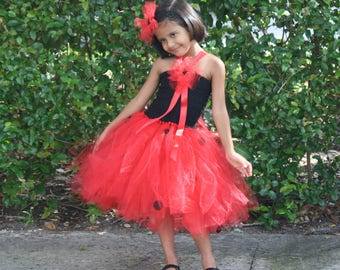 Birthday Tutu Dress, Girls Lady Bug Dress, Girls Birthday Dress, Girls Red and Black Mix Dress And Headband Set