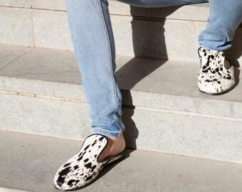 Dalmatian print mules, Moroccan slippers, leopard print mules, evening slippers, leather mules, summer shoes, slip on mules, leather clog