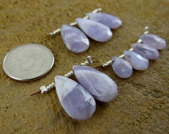 Peruvian Lavender Opals | Faceted Pear Briolette Beads | Matched Pairs, Trios, Sets of 4