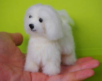 pet replica-pet loss gift-puppy sculpture-plush dog-needle felted dog-bichon-white maltese-realistic dog-bichon frise-dog replica-teddy dog