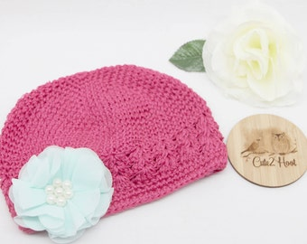 Crochet Kufi Hat, Pink, Flower, Baby Hat, Toddler Hat, Toddler Beanie, Winter Hat, Size up to 6mths
