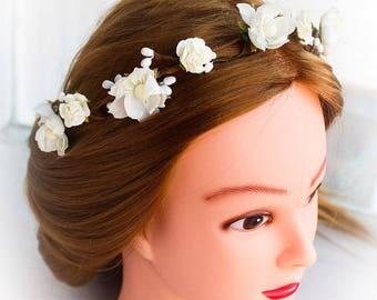 White Wedding Flower Crown, Toddler Flower Crown, Girls Floral Crown, Rustic head wreath, Flower girls,wedding headband,Wedding accessories