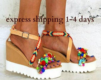 "Cork wedged Heel/leather sandals/ Friendship sandals/ Pom pom sandals/Boho sandals/Handmade sandals/Colourful sandals/""MARSHMALLOW"""