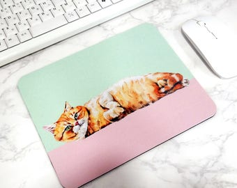 Funny Cat Mouse Pad Cute Desk Mat Animal Illustration Office Accesorries