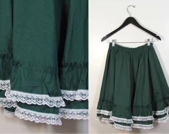 Vintage Emerald Green Prairie Skirt