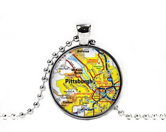 Pittsburgh Necklace Pittsburgh Map Pendant Pittsburgh City Map Necklace City Maps Pennsylvania Jewelry
