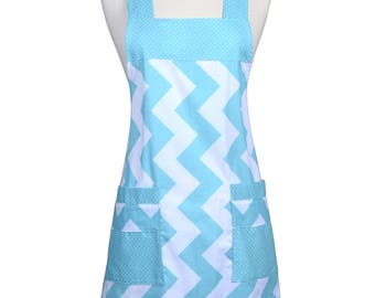 Japanese Crossback in Large Aqua Chevron - Retro Cross Over Womens Vintage Kitchen Apron with Pockets
