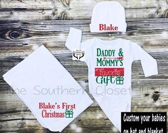 Newborn Christmas Gown,Newborn Boy Coming Home Outfit, Boy Christmas Outfit,Newborn Boy Gown,Baby Boy,Hospital Baby Gown,Custom Name,Newborn