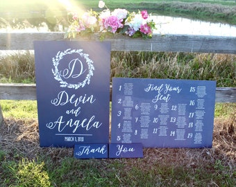 Build Your Own Custom Wedding Sign Package - Wedding Welcome Sign - Seating Plan - Custom Wedding Signs - Woodland Wedding - Navy Blue Signs