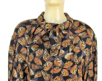 Pierre CARDIN Vintage shirt 1980's black patterned silk blouse