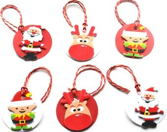 Free P+P Set of 12 Fun Christmas Gift Tags Round  Labels Red White Santa Rudolf Elf