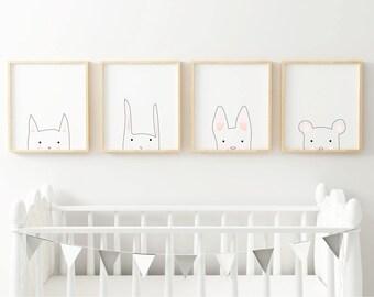 "4 x Printable Nursery Animal Illustrations - ""Cat, Rabbit, Dog, Bear"""