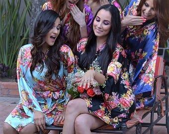 Floral Satin Bridal Robes - Silk Floral Robe - Dressing Gown - Bridesmaid Robe - Satin Kimono Robe - Floral Wedding Robes