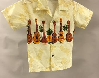 Vintage Boys Hawaiian Ukulele and Pineapple Shirt in Size 8 | Made in Hawaii | Made in the USA