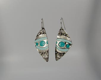 Item 4234 - Fine and Sterling Silver Lightweight  Drop Earrings with Teal Vintaj Patina