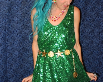 Bright Green Sequin Slip On Mini Dress Festival Outfit