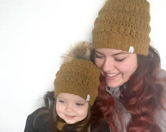 IN STOCK, Mommy and me wool hats duet, handmade hats and cowl, faux fur pompon, crocheted hats, winter hats, infant hat, women hat