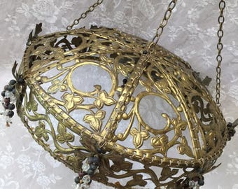 Fabulous Antique French MEDIEVAL Domed BEDCANOPY Ciel de Lit CROWN Corona with Beads