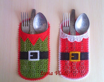 FSL Christmas Cutlery Holder Santa and Elf Free Standing Lace Machine Embroidery Designs 6x10hoop -1 size, Santa and Elf - Silverware Holder