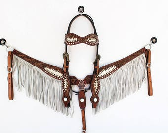 Grey Fringe White Hair Tooled Headstall Leather Western Horse Trail Bridle Breast Collar Plate Barrel Racer Cowgirl Bling Tack Set