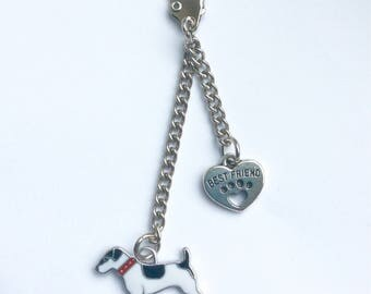 Jack russell terrier keyring, jack russell gift, dog lover keychain, gift for dog lover, parson jack russell