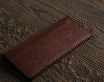 Burgundy Long Leather wallet long wallet handmade wallet leather wallet travel wallet black leather wallet gift gift for hergift for him