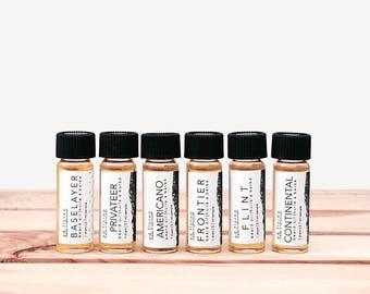 Beard Oil: SAMPLER - Fathers Day Gift, sample set of beard oil samples testers, beards bag, sampler bag, mens toiletry beard oil - 6 drams