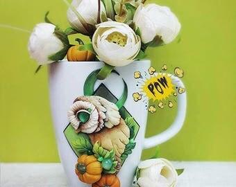 Owl with the moon on mug 400 milliliters volume