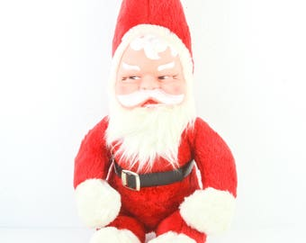 "1940s 1950s Vintage Santa Stuffed Doll Plastic Face Rubber Plush Christmas Holiday 19"""