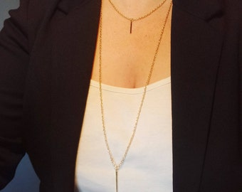 Gold bar necklace | layering necklace | bar necklace | layered necklace | long gold necklace | dainty necklace | minimalist necklace