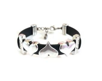 Leather Bracelet, Heart Bracelet, Black Leather, Adjustable Closure, Gift for Her, Antique Silver, Genuine Leather, Love, Bracelet