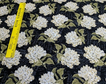 Vintage Garden-Cream Colored Flowers on Black Cotton Fabric from Wilmington Prints