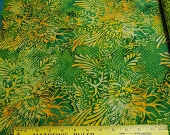 Yellow Flowers on Green Batik Cotton Fabric