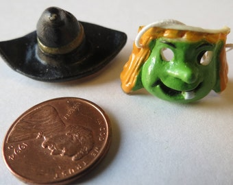 Dollhouse Miniature Witch hat and mask  Halloween