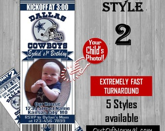 Dallas Cowboys Themed Birthday Invitation Tickets with photo - Football Birthday Invitations -Personalized - 4 styles!