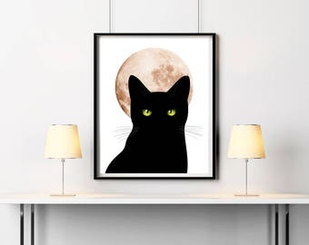 Black Cat Print, Cat poster 16x20, Sneaky Cat, Digital print, Minimalist art, Kids room decor, Moon print, Instant download, Cat artwork