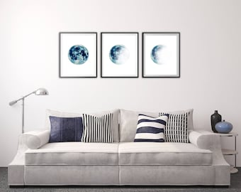 Moon phases wall art Moon print Travel gift Moon phases wall decor Moon Art Moon photo art Wall hanging Set of 3 Gift for her Gift for him
