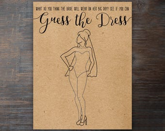 Guess the Dress Printable Bridal Shower Game . Bridal Shower Games . Unique Bridal Shower Game . Wedding Shower Game . Instant Download