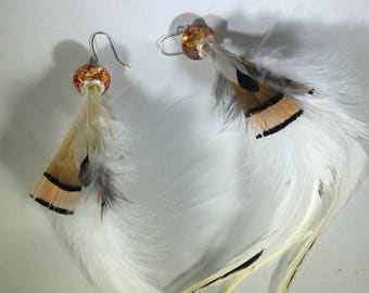 Gold Feather Earrings, Real Feather earrings, long feather earrings, white feather earrings, pheasant feather earrings, rooster feather