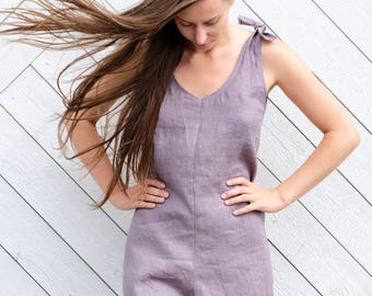Gray linen overalls, Linen overall, Linen shortalls, Womens linen overalls, Linen shorts, Linen clothing, Gray overalls
